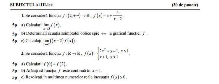 Rezolvare Simulare BACALAUREAT 2015 Matematica Clasa A 11
