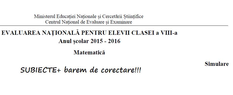 Simulare Clasa A 8 A 2019 Matematica: Simulare Evaluarea NATIONALA -Matematica-clasa A VIII A